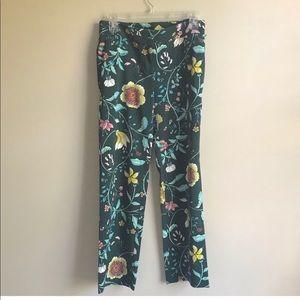 LOFT Petite Green Floral Vine Trouser Pants